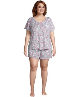 Brushed Hacci Floral Plus Short Sleep Set