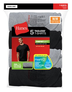 Hanes Men's FreshIQ® ComfortSoft® Dyed Black/Grey T-Shirt 5-Pack