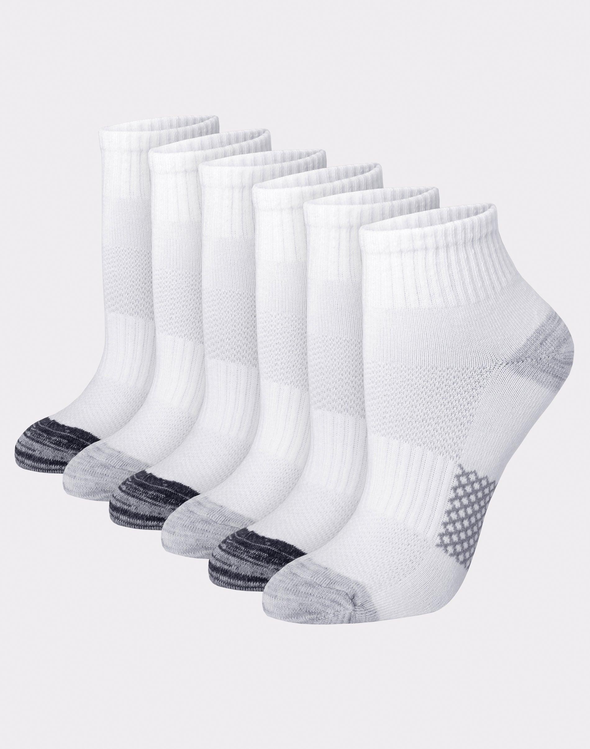 Hanes Crew Socks 6-Pack Women/'s Ultimate ComfortSoft Comfort Toe Black or White