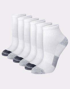Hanes Women's Breathable Lightweight Ankle Socks Extended Sizes 8-12, 6-Pack
