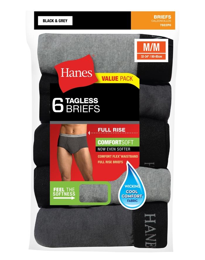 6-Pack Hanes Men's FreshIQ ComfortSoft Full Rise Dyed Briefs