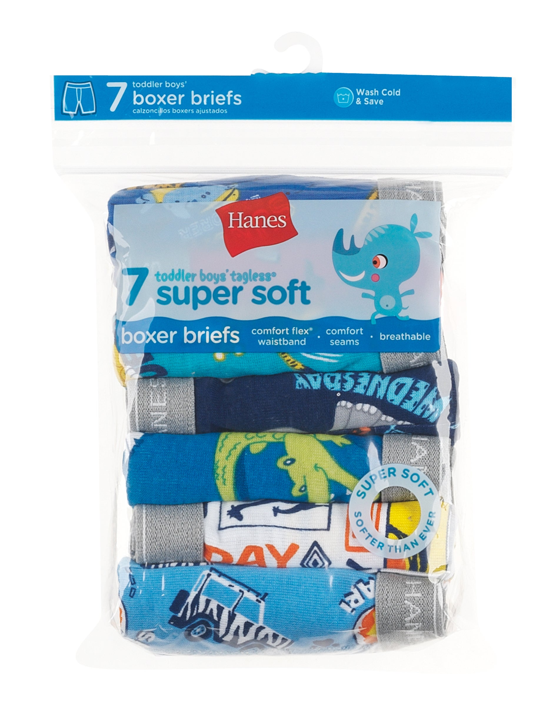 Hanes Toddler Boys Dyed Boxer Briefs 7-Pack X-Large Assorted