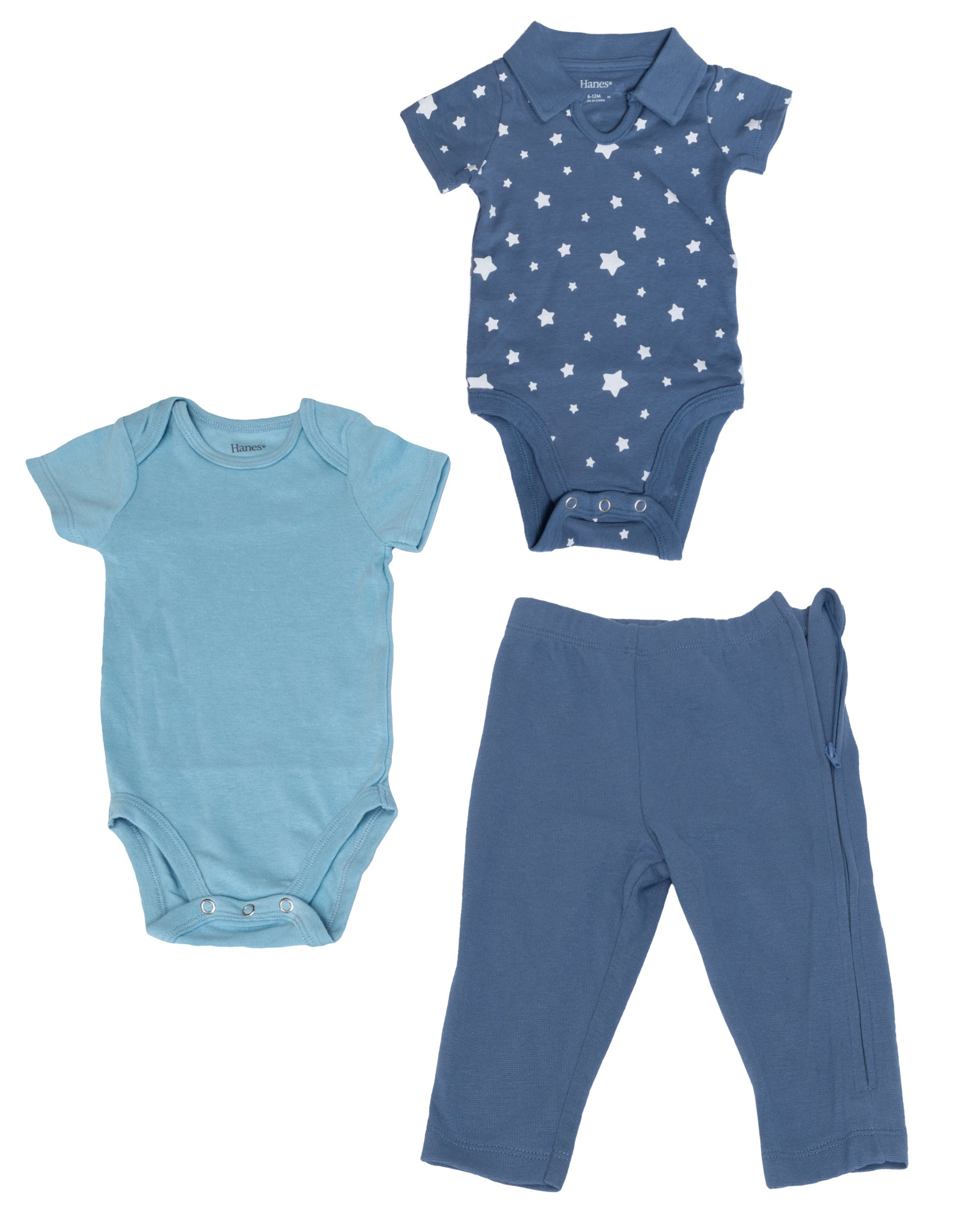 Hanes Ultimate Baby Flexy Jogger with Bodysuit and Zippin Knit Hoodie Set Blue