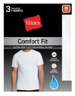 Hanes Men's Comfort Fit White Crew Undershirt 3-Pack