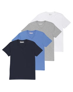 Chaps Men's Short Sleeve V-Neck T-Shirt Extended Sizes 4-Pack