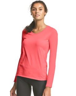 Hanes Athletics™ Women's Long Sleeve Jersey V-Neck Tee