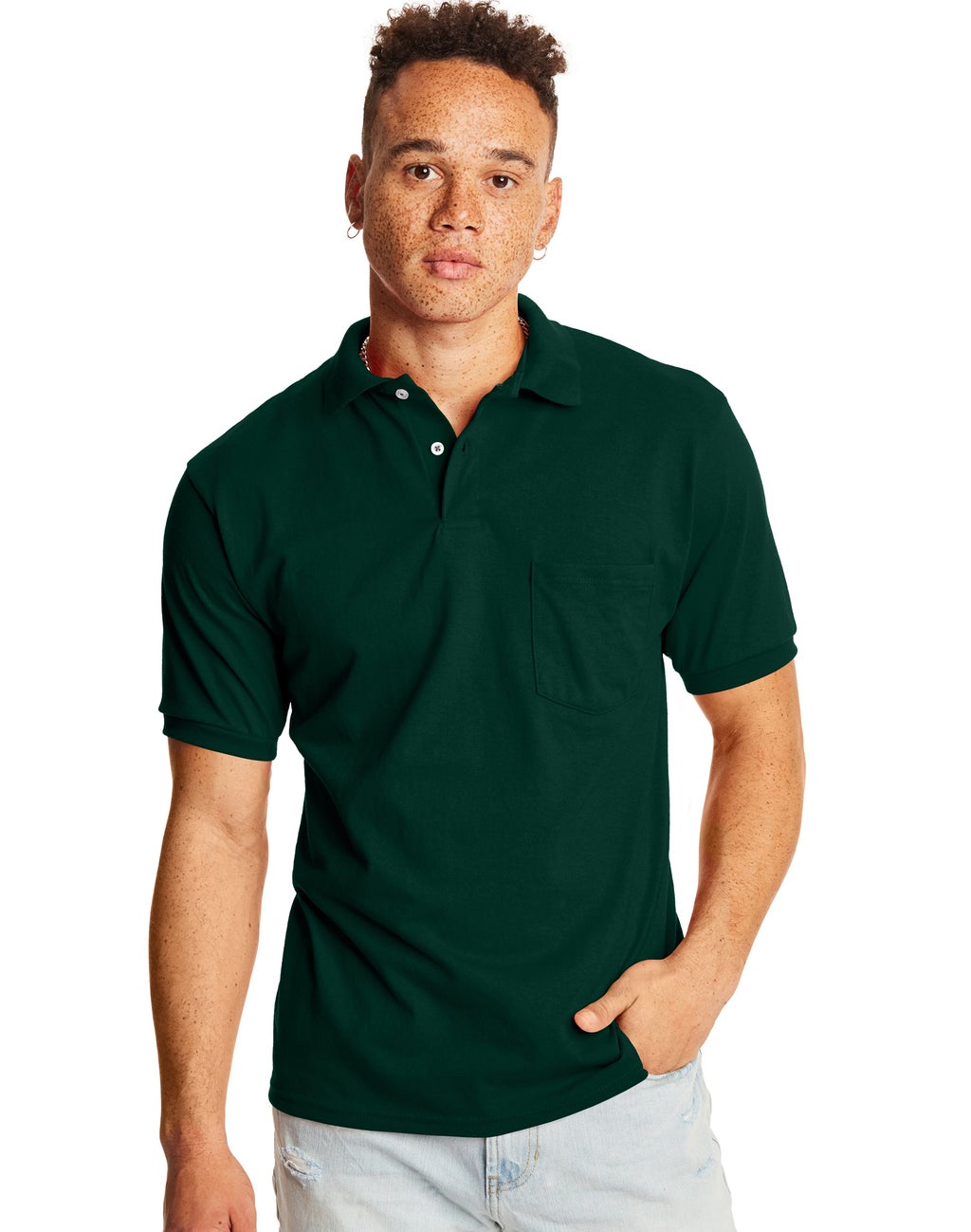 3-Pack Hanes Men's CottonBlend EcoSmart Jersey Polo with Pocket