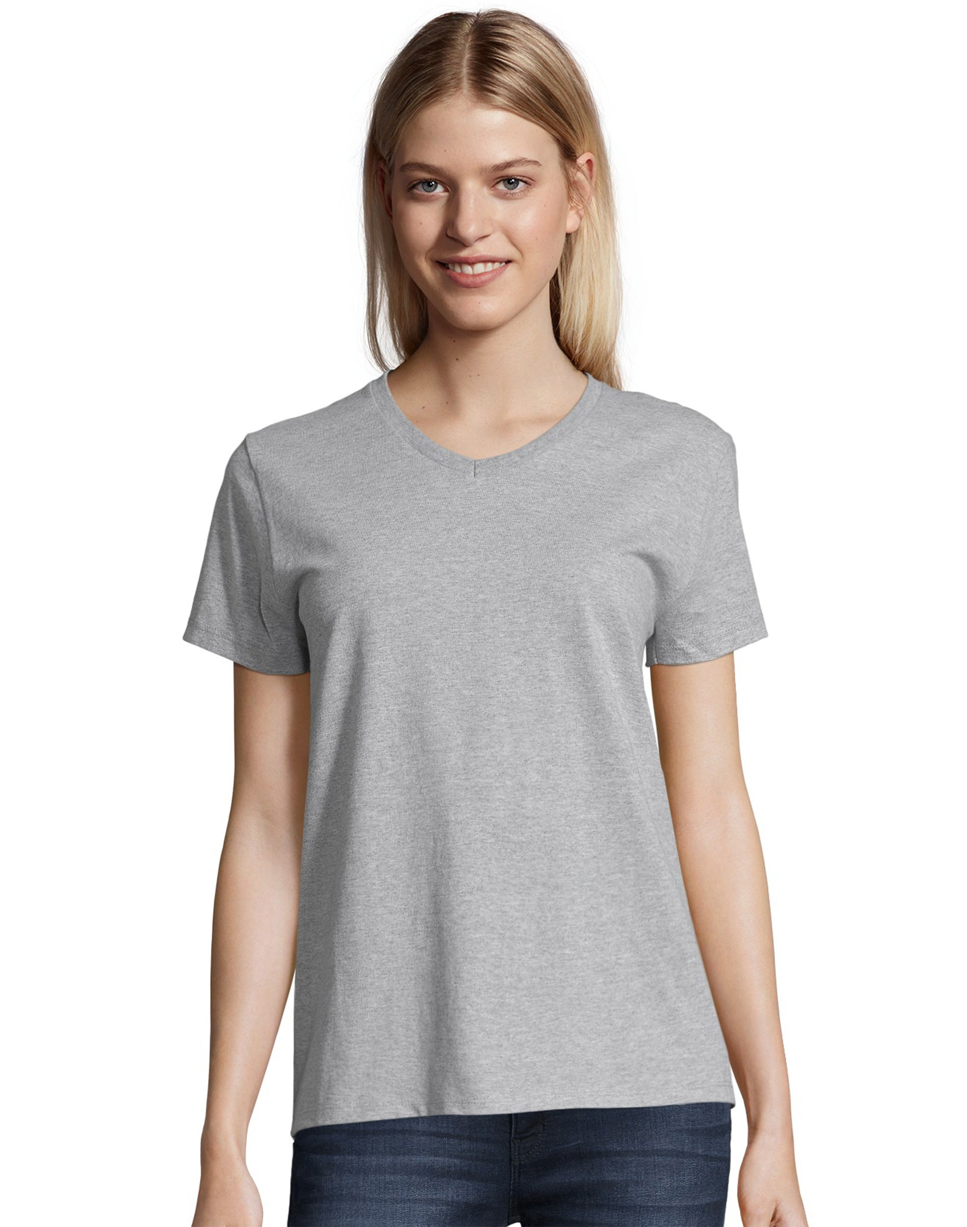 Hanes Womens 2-Pack T-Shirt V-Neck Tee ComfortSoft Relaxed Fit Short Sleeve