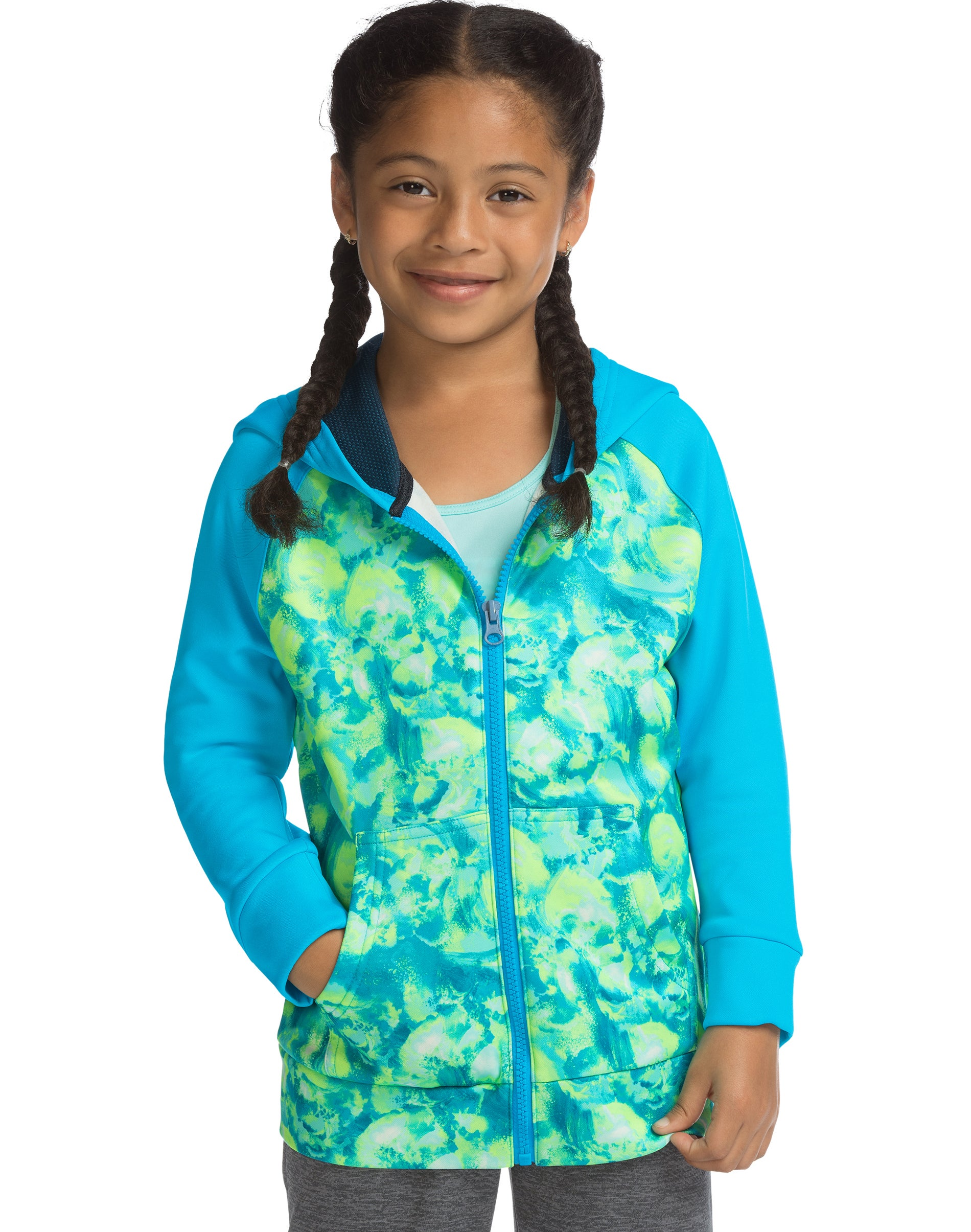 Hanes Girls Slub Jersey Full Zip Jacket Shirt