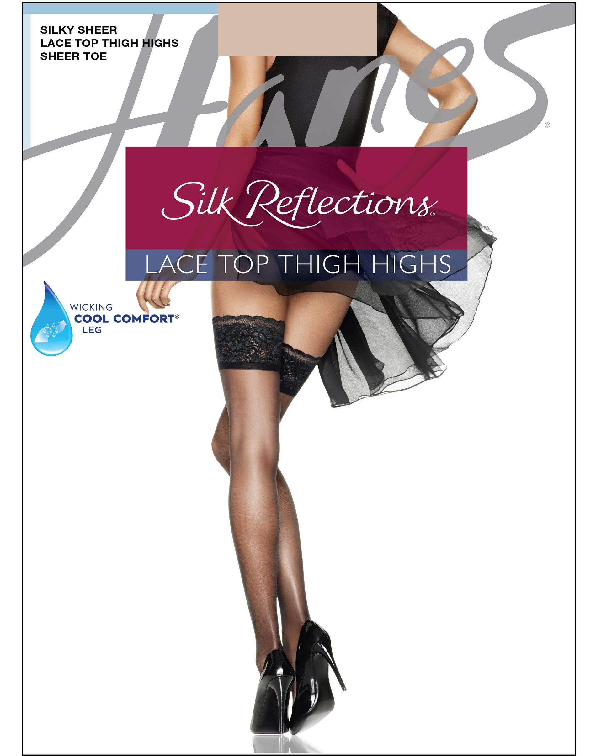Barely Black Hanes Silk Reflections Womens Lace Top Thigh High E//F