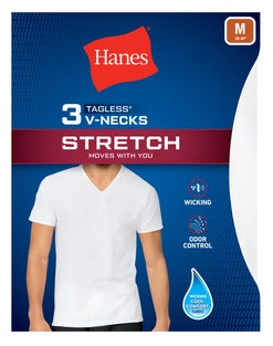 Hanes Men's Stretch V-Neck Undershirt 3-Pack