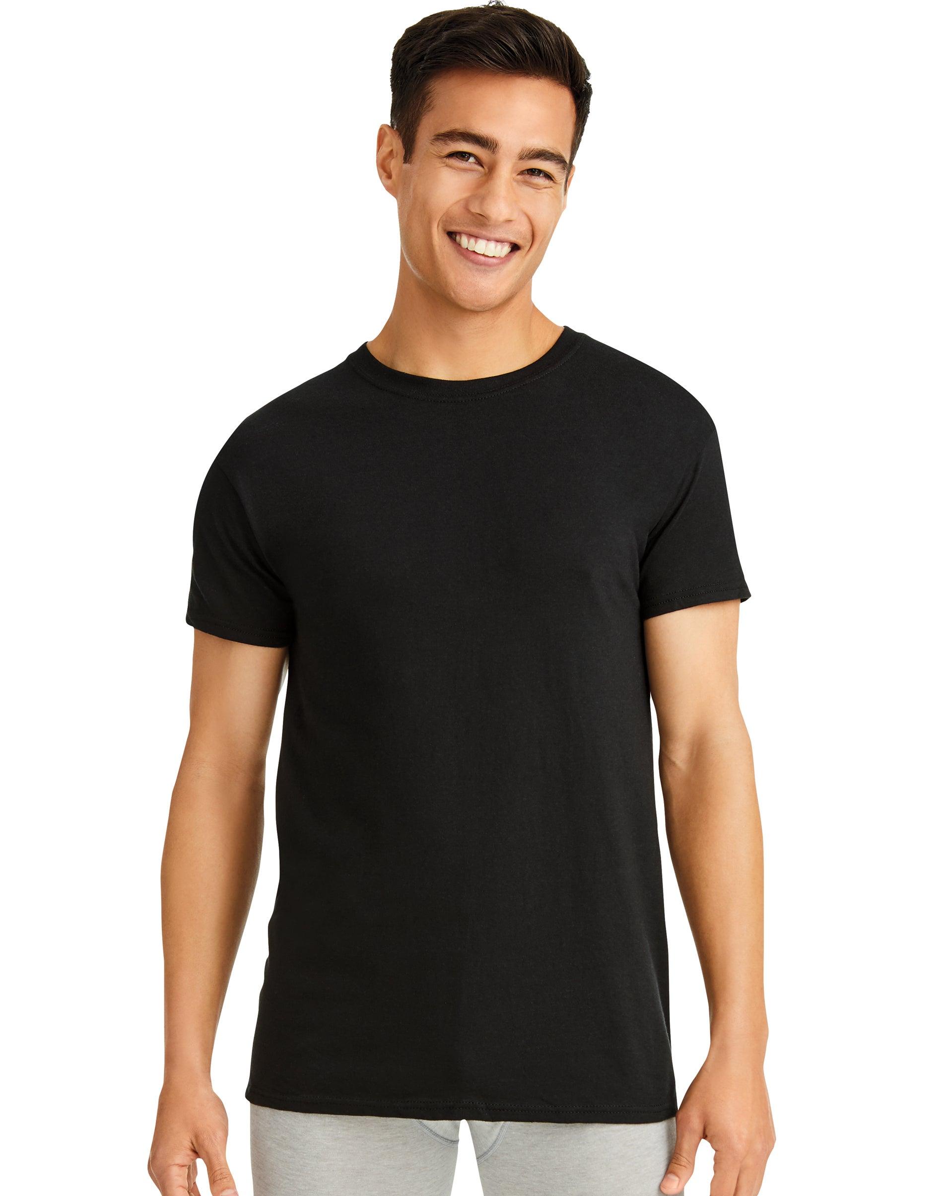 Hanes 3-Pack V-Neck Undershirt Mens Luxury Essentials Black Dyed FreshIQ Wicking