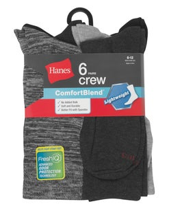 Hanes Men's FreshIQ™ ComfortBlend® Lightweight Casual Dress Socks 6-Pack