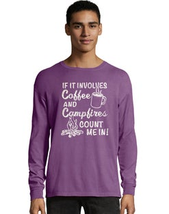 Hanes ComfortWash™ Coffee and Campfires National Park Graphic Long Sleeve Tee