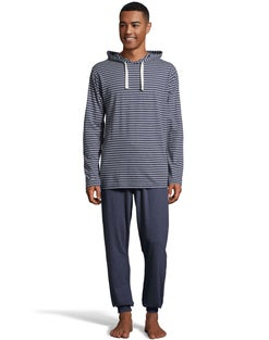 Hanes Men's 1901 Heritage Striped Hoodie with Jogger Pant Set