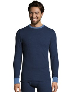 Hanes Men's 2-color Fusion Knit Thermal Crewneck