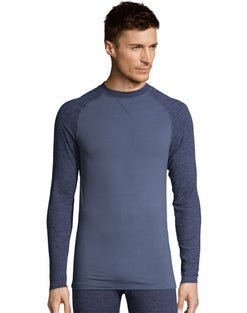 Hanes Men's Space Dye 4-Way Stretch Thermal Crewneck