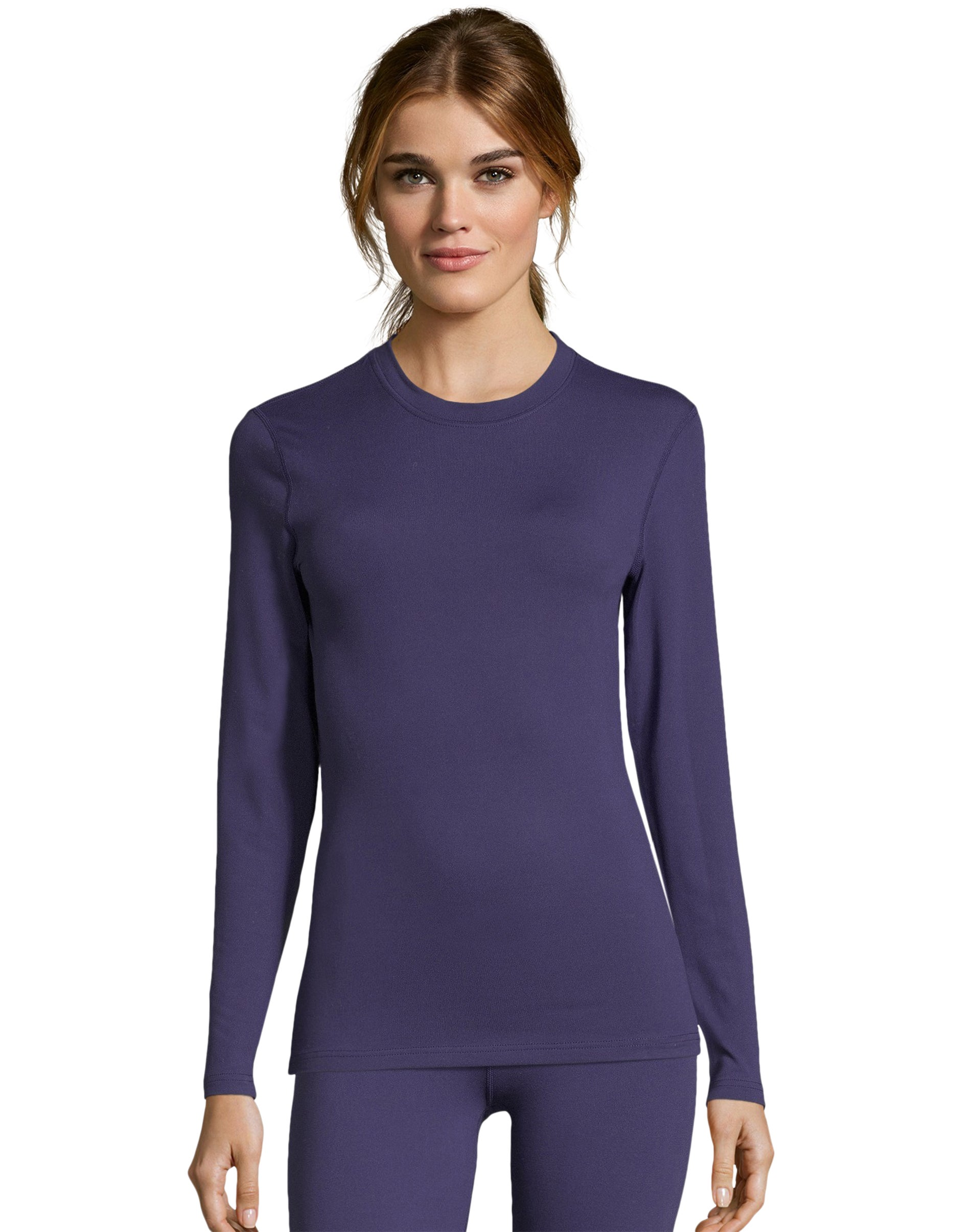 Hanes Womens Thermal Crewneck Solid Color Fusion stretch Soft Baselayer Warm