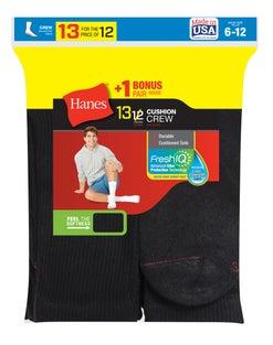 Hanes Men's Cushion Crew Socks 13-Pack (Includes 1 Free Bonus Pair)