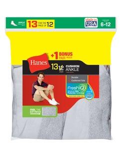 Hanes Men's Cushion Ankle Socks 13-Pack (Includes 1 Free Bonus Pair)