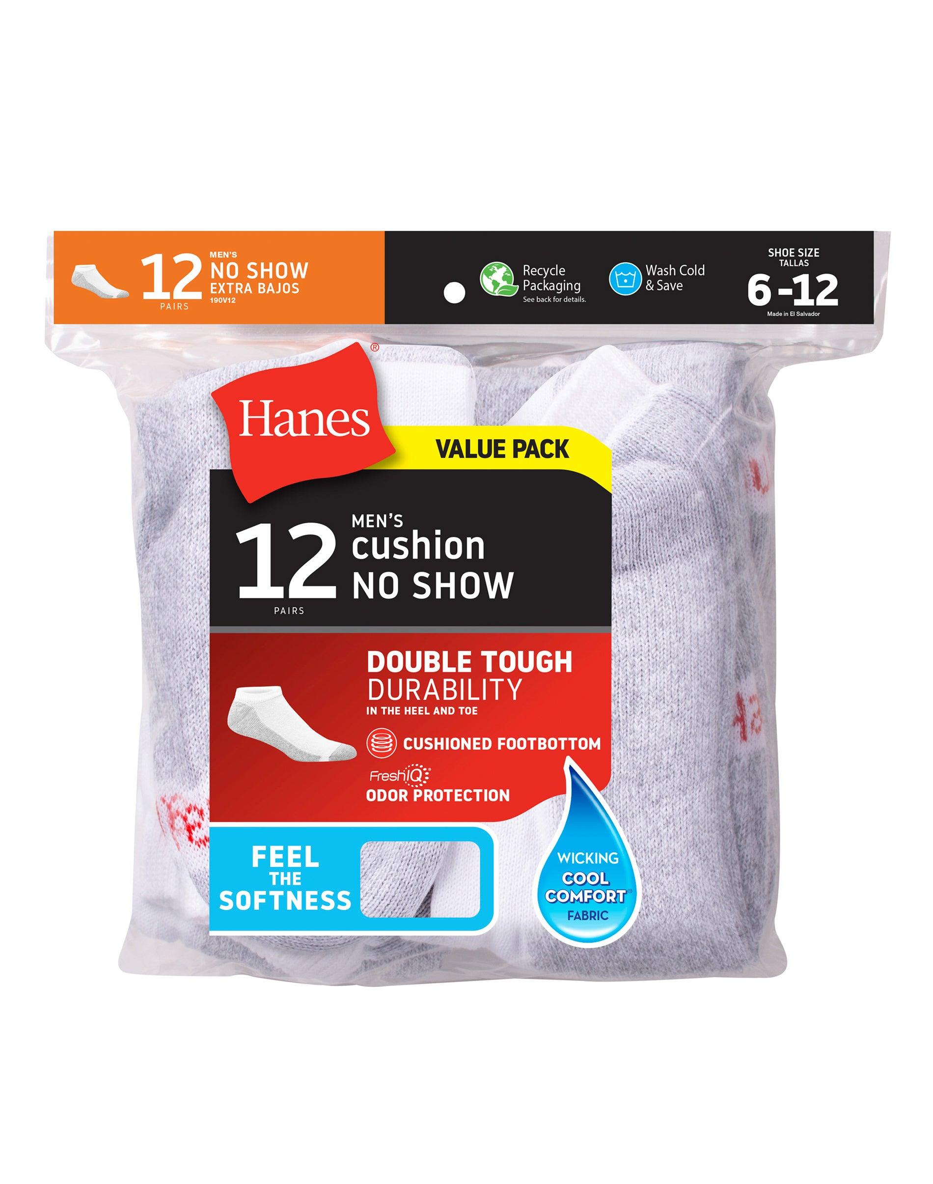 6 Bonus Pack ~ 12 Pair Total Hanes Men/'s No Show White Cushion Socks ~ 6
