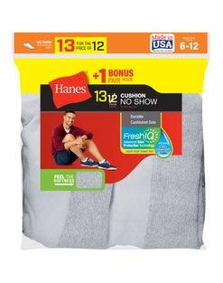 Hanes Men's Cushion No-Show Socks 13-Pack (Includes 1 Free Bonus Pair)