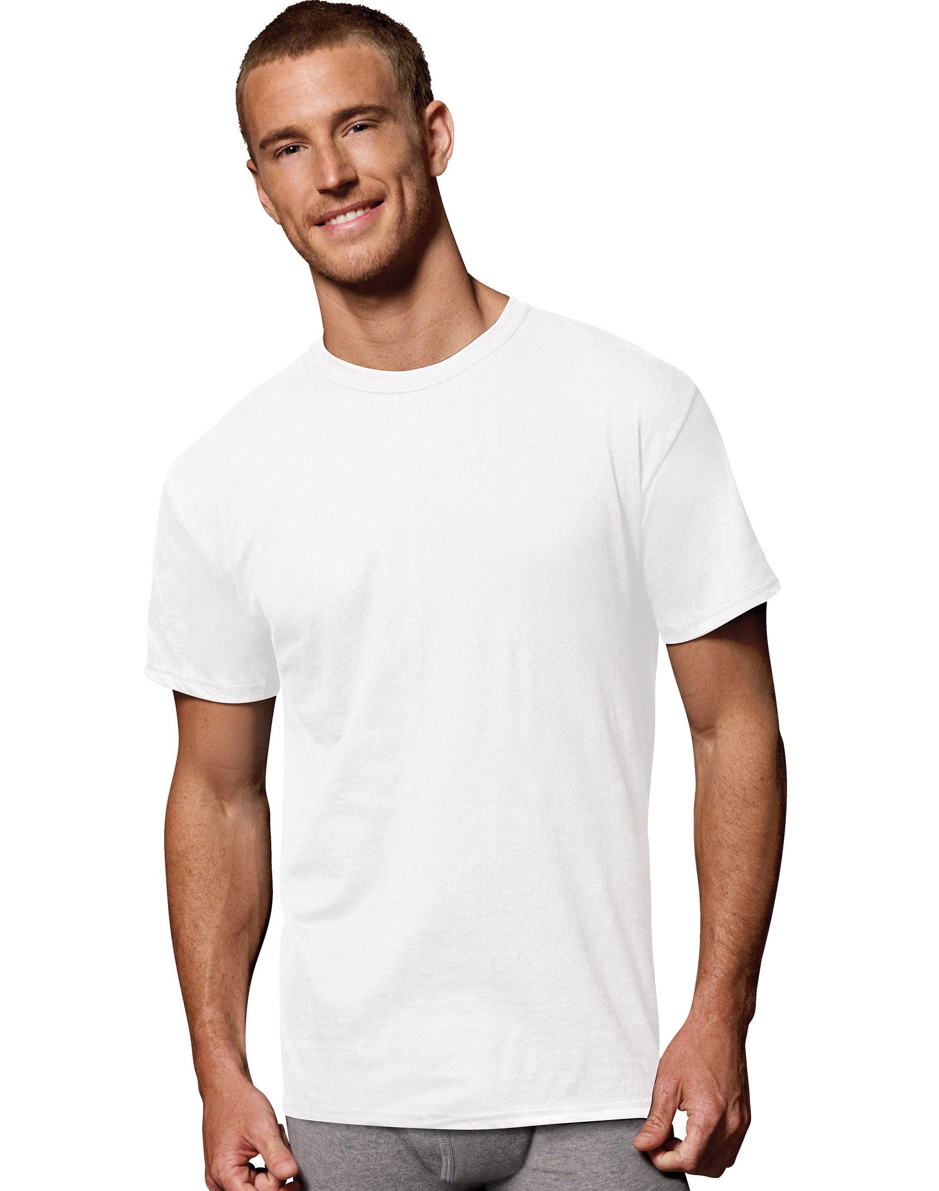 Hanes Men/'s White Crew Neck T-Shirt Undershirt Fresh IQ Odor Protection 7-PACK