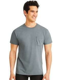 Hanes Men's Soft and Breathable Pocket Tee Assorted 6-Pack
