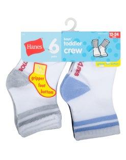 Hanes Toddler Boys' Crew Socks 6-Pack
