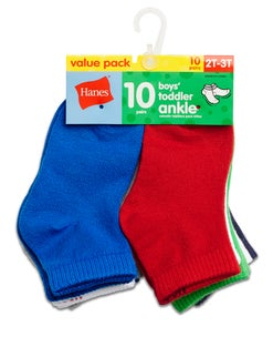 Hanes Boys' Toddler Ankle 10-Pack