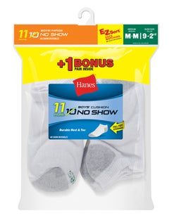 Hanes EZ-Sort® Boys' No-Show Socks 11-Pack (Includes 1 Free Bonus Pair)