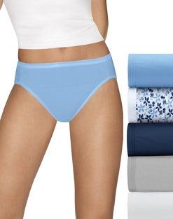 Hanes Ultimate™ Comfort Cotton Women's Hi-Cut Panties 5-Pack