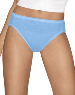 Hanes Women's Ultimate Cotton Comfort Hi-Cut Panties Assorted Colors & Prints 4-Pack
