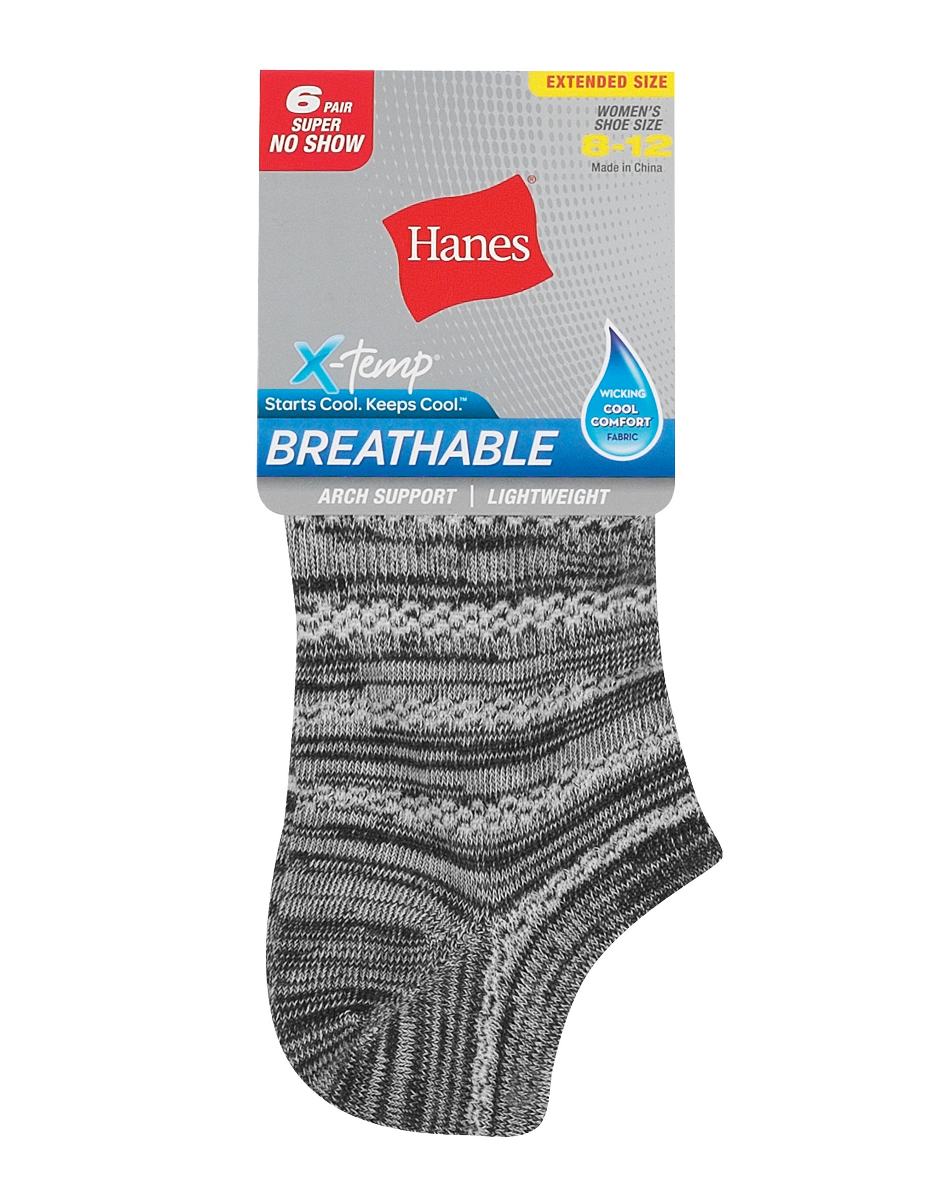 Hanes No Show Socks 6-Pack Sport Womens Cool Comfort Arch support 5-9 6 Pair