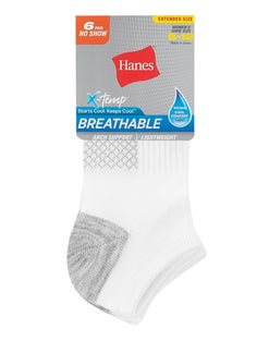 Hanes Women's Breathable Lightweight No Show Socks Extended Sizes 8-12, 6-Pack