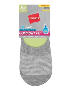 Hanes Women's Comfort Fit Invisible Liner: Mid Sport Extended Sizes 8-12,  6-Pack