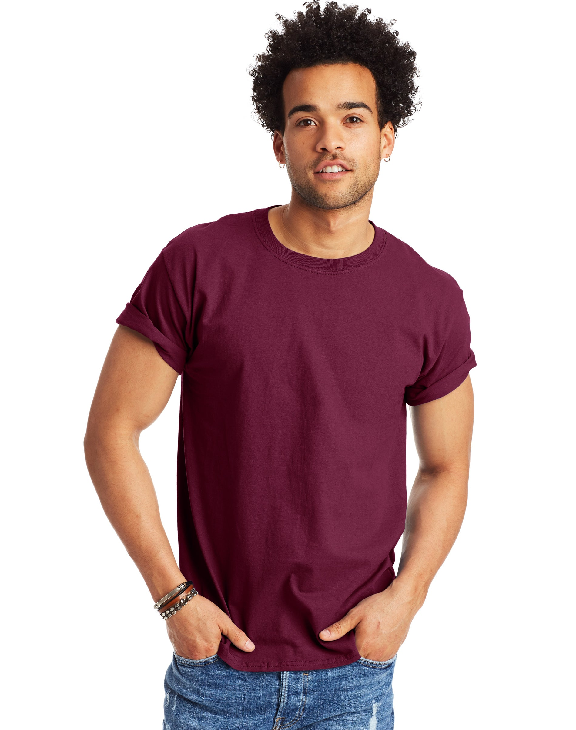 Maroon X-Large Hanes Mens Tagless Long Sleeve T-Shirt with a Pocket