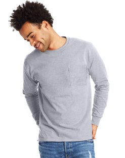 Hanes Men's Authentic Long-Sleeve T-Shirt with Pocket