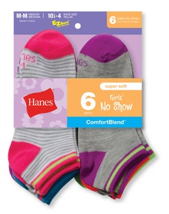Hanes Girls' Fashion ComfortBlend® No-Show Socks 6-Pack