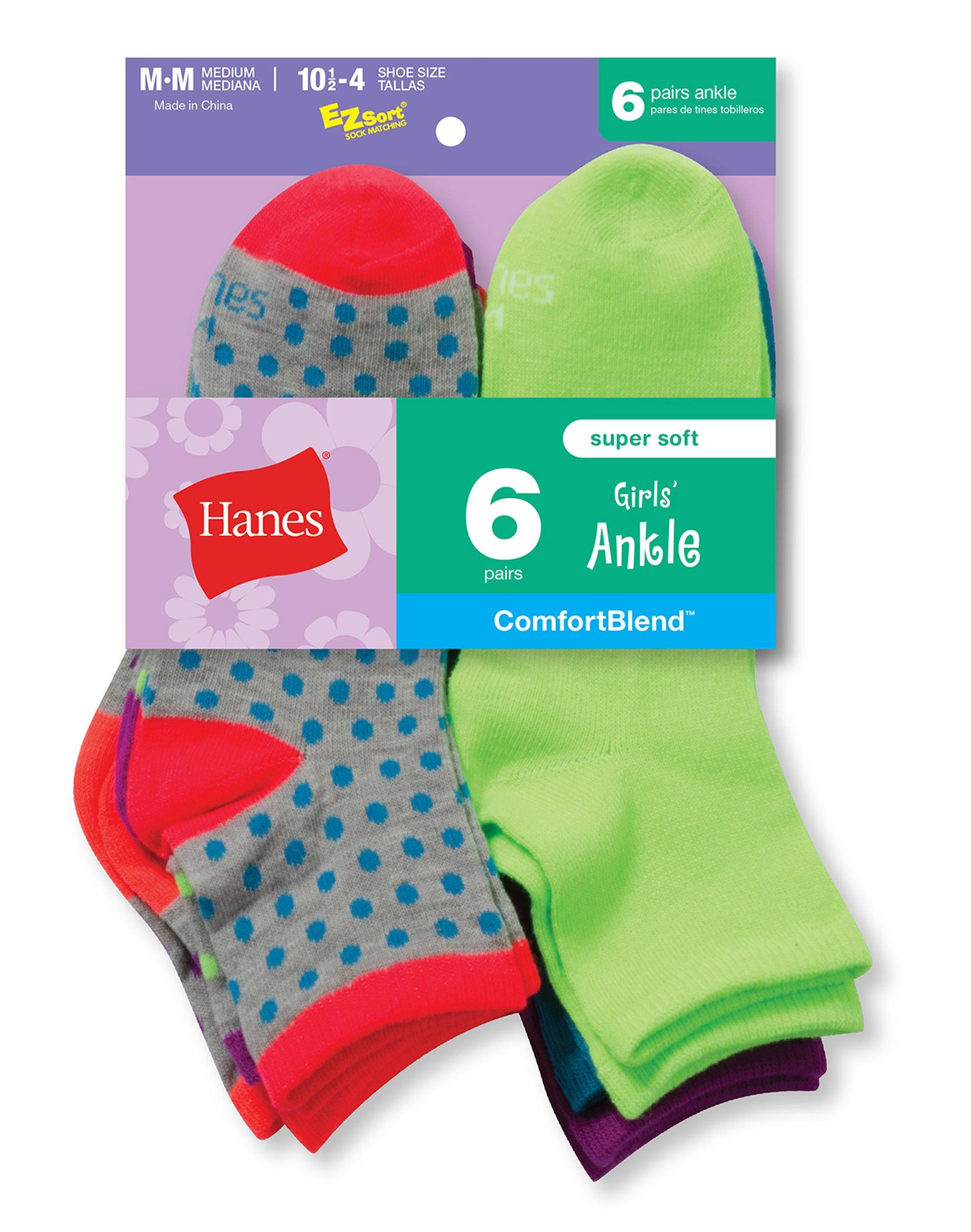 Hanes Girls Cool Comfort Ankle Socks 10 Pack