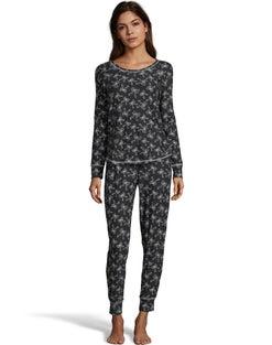 Jersey Long Sleeve PJ Set--Black