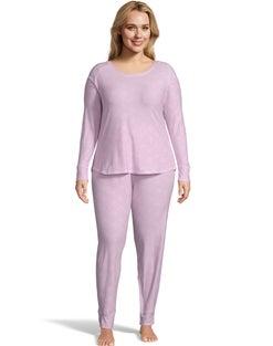 Jersey Long Sleeve Plus PJ Set--Pink