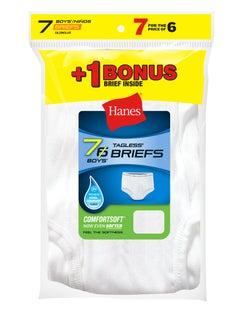 Hanes Boys' TAGLESS® White Briefs 7-Pack (Includes 1 Free Bonus Brief)