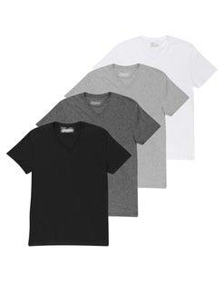 Chaps Men's Short Sleeve V-Neck T-Shirt 4-Pack