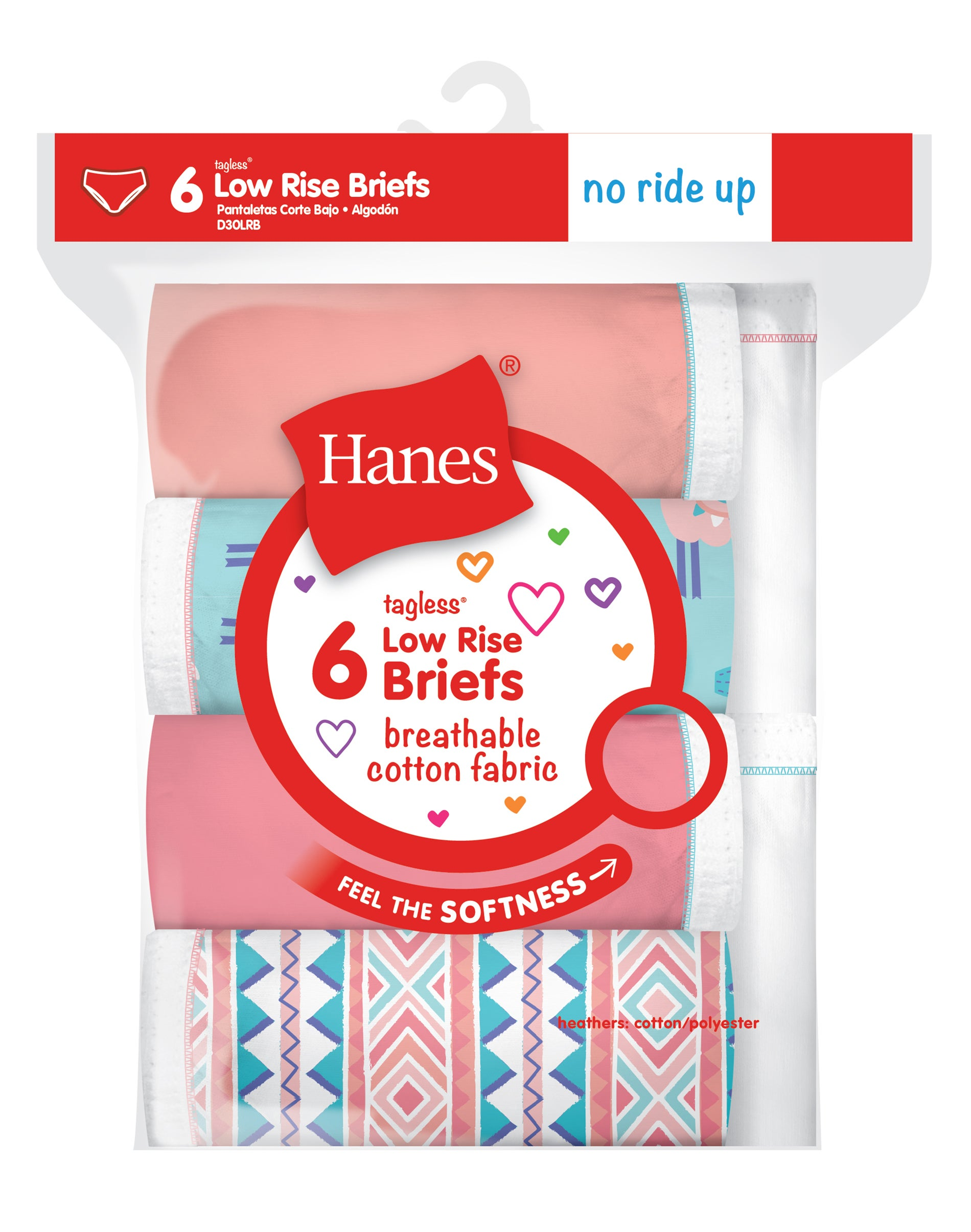 Hanes Girls` No Ride Up Cotton Low Rise Briefs