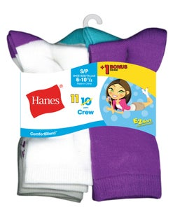 Hanes ComfortBlend® EZ-Sort® Girls' Crew Socks 11-Pack (Includes 1 Free Bonus Pair)