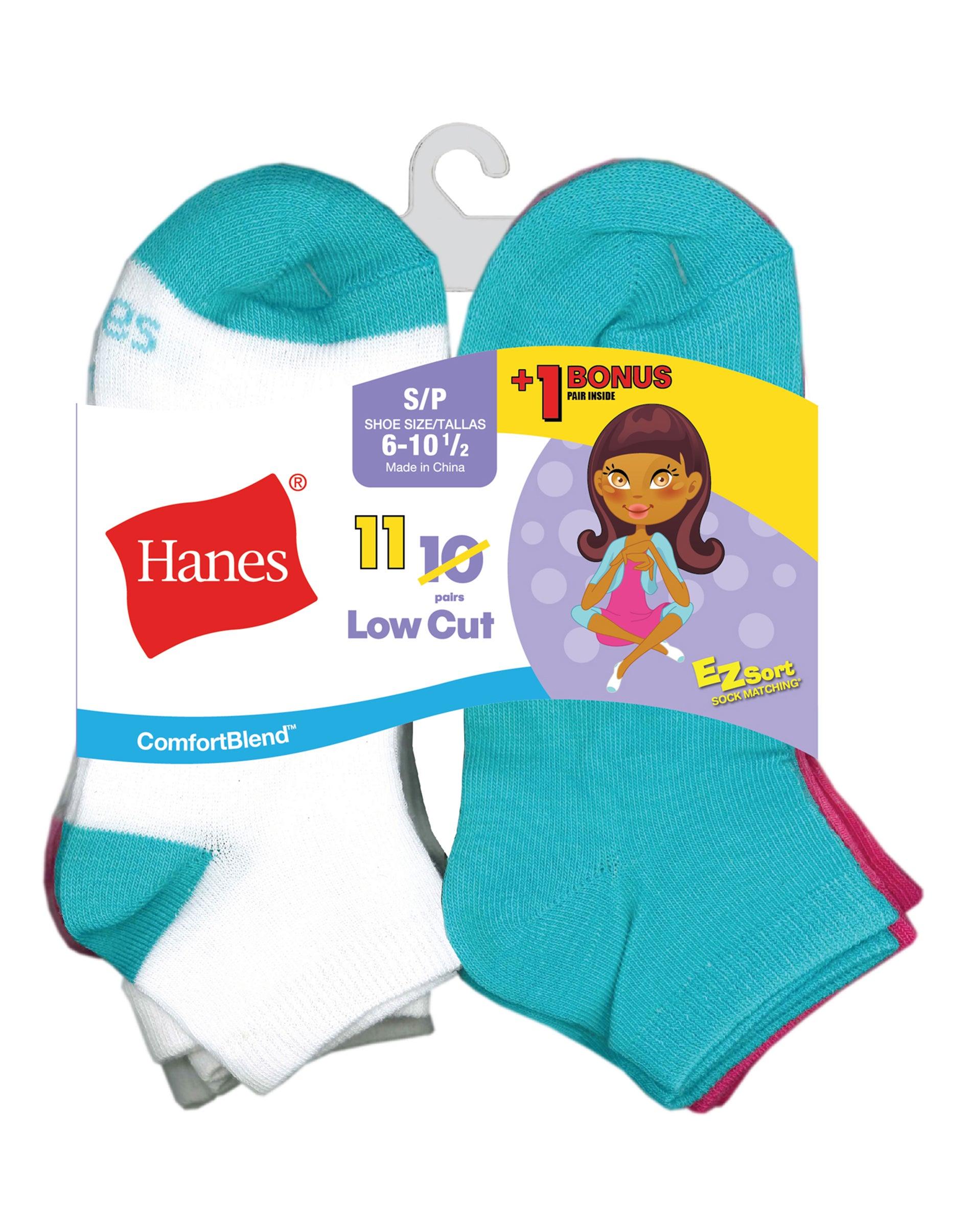 Hanes Girls Fashion ComfortBlend Ankle Socks 6-Pack