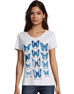 Hanes Women's Butterfly Collection Short-Sleeve V-Neck Graphic Tee