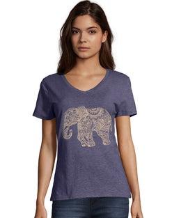 Hanes Women's Pattern Elephant Short-Sleeve V-Neck Graphic Tee