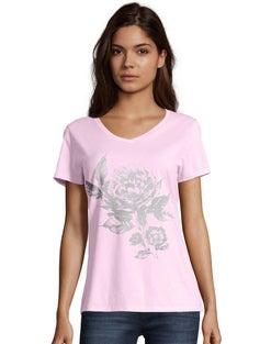 Hanes Women's Floral Semplice Short-Sleeve V-Neck Graphic Tee